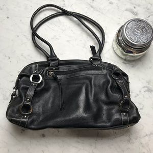 Tignanello Black Pebble Leather Shoulder Handbag